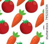 tomato and carrot vegetables...   Shutterstock .eps vector #795232534
