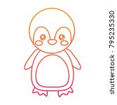 cute animal penguin standing... | Shutterstock .eps vector #795235330