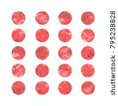 set of red watercolor dots ... | Shutterstock . vector #795238828