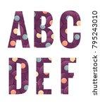 retro vinyl records alphabet... | Shutterstock .eps vector #795243010