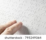hand of a blind person reading... | Shutterstock . vector #795249364