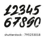 calligraphic numbers. vector set | Shutterstock .eps vector #795253018