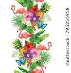tropical seamless vertical... | Shutterstock .eps vector #795255958