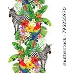 tropical seamless vertical... | Shutterstock .eps vector #795255970