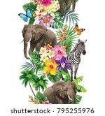 tropical seamless vertical... | Shutterstock .eps vector #795255976