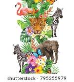tropical seamless vertical... | Shutterstock .eps vector #795255979