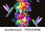 tropical seamless vertical... | Shutterstock .eps vector #795255988