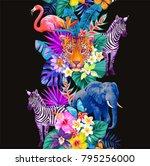 tropical seamless vertical... | Shutterstock .eps vector #795256000