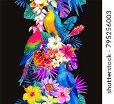 tropical seamless vertical... | Shutterstock .eps vector #795256003