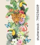 tropical seamless vertical... | Shutterstock .eps vector #795256039