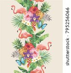 tropical seamless vertical... | Shutterstock .eps vector #795256066