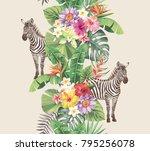 tropical seamless vertical...   Shutterstock .eps vector #795256078