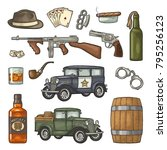 gangster mafia set. engraving... | Shutterstock .eps vector #795256123