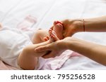 little feet baby new born in... | Shutterstock . vector #795256528