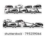 car transporter trucks   vector ... | Shutterstock .eps vector #795259066