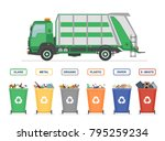 garbage truck and garbage cans...   Shutterstock .eps vector #795259234