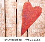 rustic red heart on pallet wood.... | Shutterstock . vector #795261166