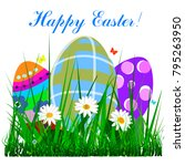 happy easter banner with bright ... | Shutterstock .eps vector #795263950
