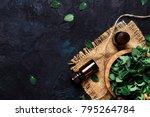 essential oregano oil in a... | Shutterstock . vector #795264784