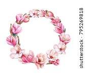 spring flowering wreath. pink...   Shutterstock . vector #795269818