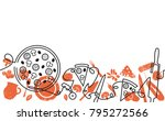pizza  background. hand drawn... | Shutterstock .eps vector #795272566