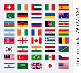 Miscellaneous set of country flags, with accurate official RGB colors. Vector Illustration.