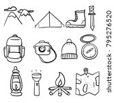 hiking icons set doodle  ... | Shutterstock .eps vector #795276520