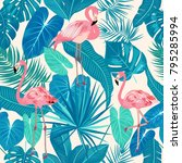 seamless pattern of flamingo ... | Shutterstock .eps vector #795285994