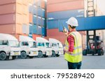 asian foreman control loading... | Shutterstock . vector #795289420