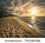 beautiful sunset on the north... | Shutterstock . vector #795289588