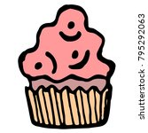 hand drawn sketch style cake...   Shutterstock .eps vector #795292063