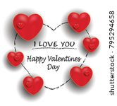 happy valentine day  red hearts ... | Shutterstock .eps vector #795294658