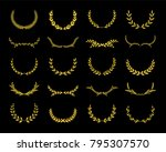 collection of different golden... | Shutterstock .eps vector #795307570