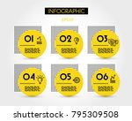 six yellow info options with... | Shutterstock .eps vector #795309508