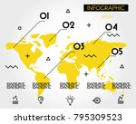 yellow info world map with...   Shutterstock .eps vector #795309523
