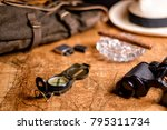 old expedition map with compass ... | Shutterstock . vector #795311734