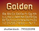 font lamp symbol  gold letter... | Shutterstock .eps vector #795320398