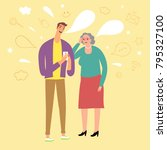 young man telling grandmother... | Shutterstock .eps vector #795327100