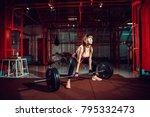 female fitness performing doing ... | Shutterstock . vector #795332473