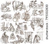 an hand drawn collection.... | Shutterstock . vector #795332830