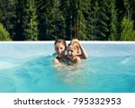 portrait of brother and sister... | Shutterstock . vector #795332953