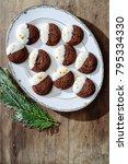 overhead of dark chocolate... | Shutterstock . vector #795334330