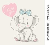 cute elephant with balloon hand ... | Shutterstock .eps vector #795335728