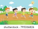 happy kids running marathon... | Shutterstock .eps vector #795336826
