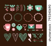 valentine's day cute set of... | Shutterstock .eps vector #795340690