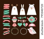 valentine's day cute set of... | Shutterstock .eps vector #795340720
