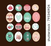 set of cute gift tags for... | Shutterstock .eps vector #795340924