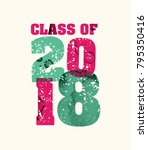 the words class of 2018 concept ... | Shutterstock .eps vector #795350416