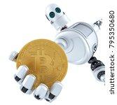 robot holding gold bitcoin. 3d... | Shutterstock . vector #795350680