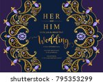 indian wedding invitation card ... | Shutterstock .eps vector #795353299